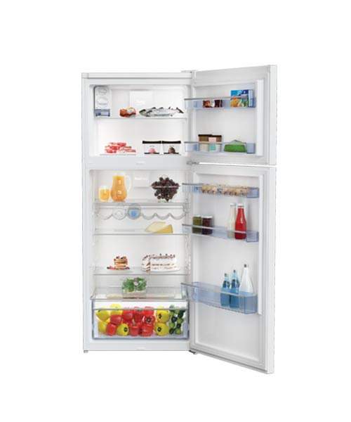 beko-fridge-top-mount-white-400l-rdne400k30zw-with-open-door